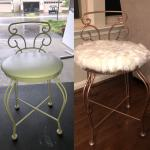 Vanity Stool I Bought For 5 From A Church Sale Used Some Leftover Rose Gold Spray Paint Bought A Pillow Cover For 8 To Reupholster The Seat Thriftstorehauls