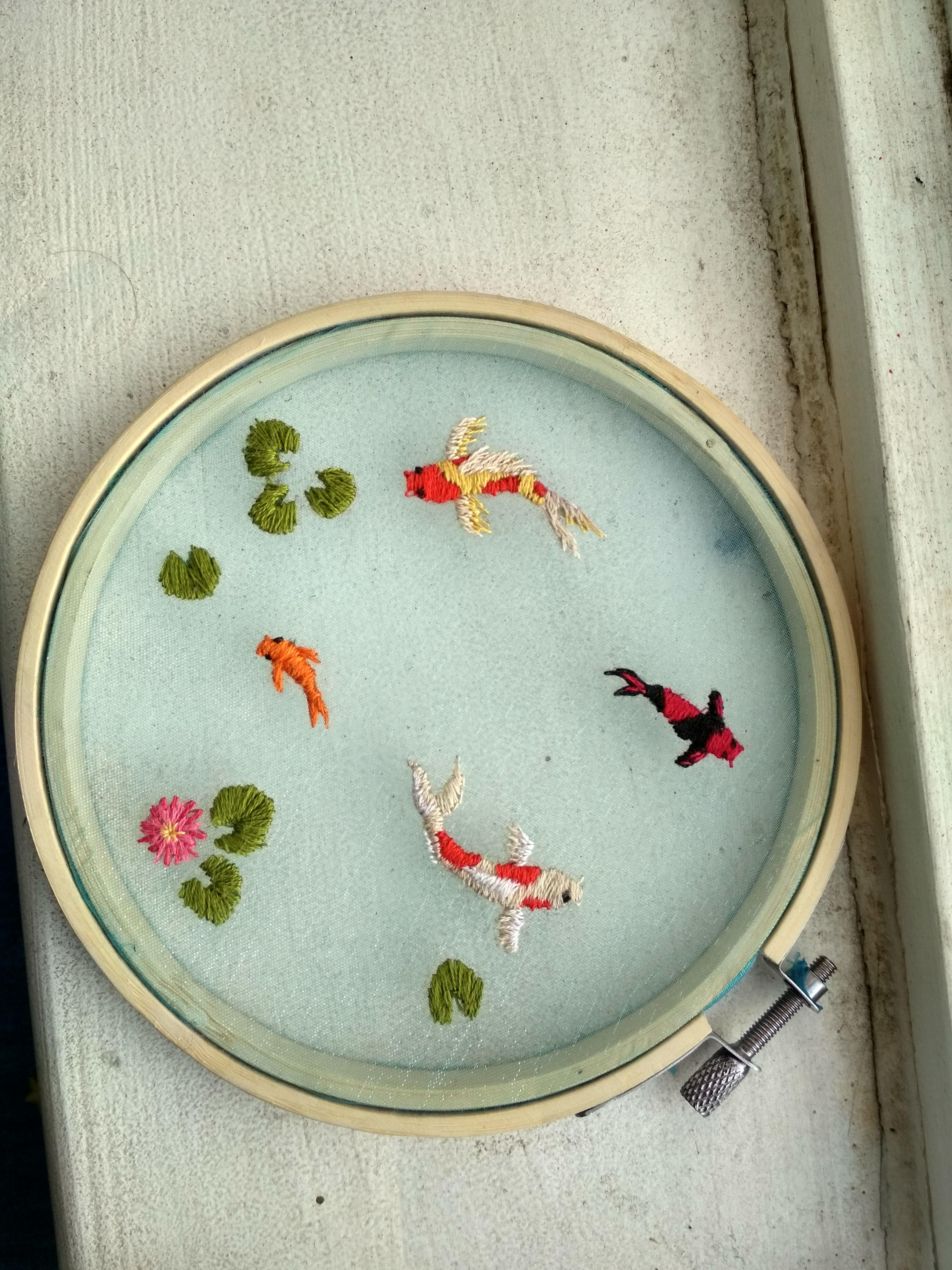 Koi Fish Embroidery : embroidery, Tried, Doing, Organza, Embroidery