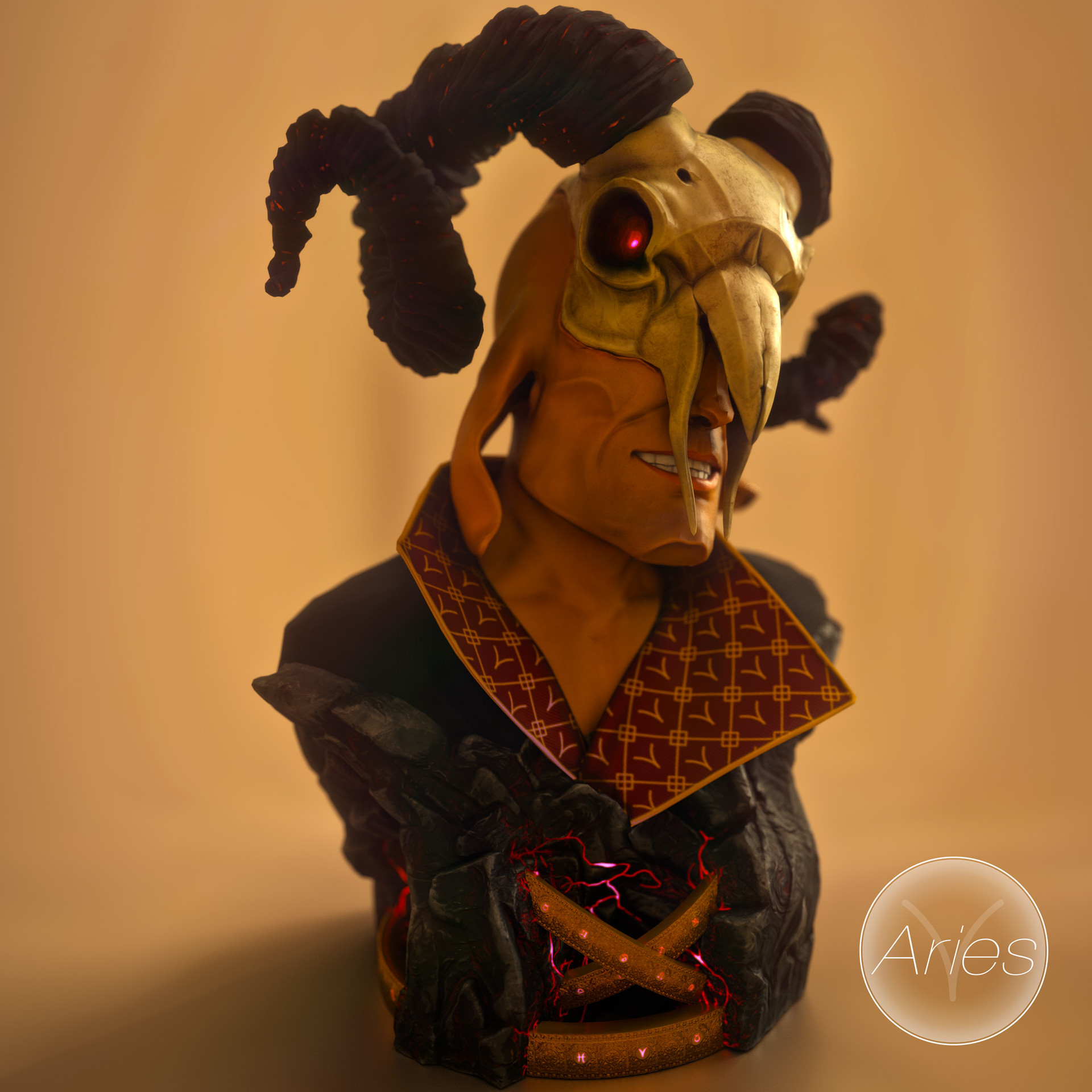 aries 3d printable sculpture
