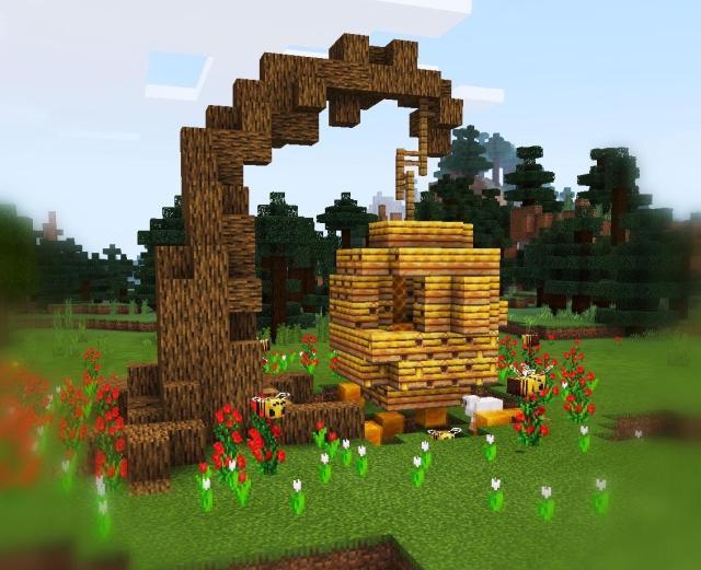 Simple beehive design: Minecraft