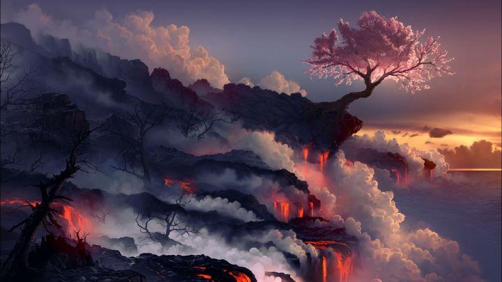 Eruption Lava Volcano (1920×1080)