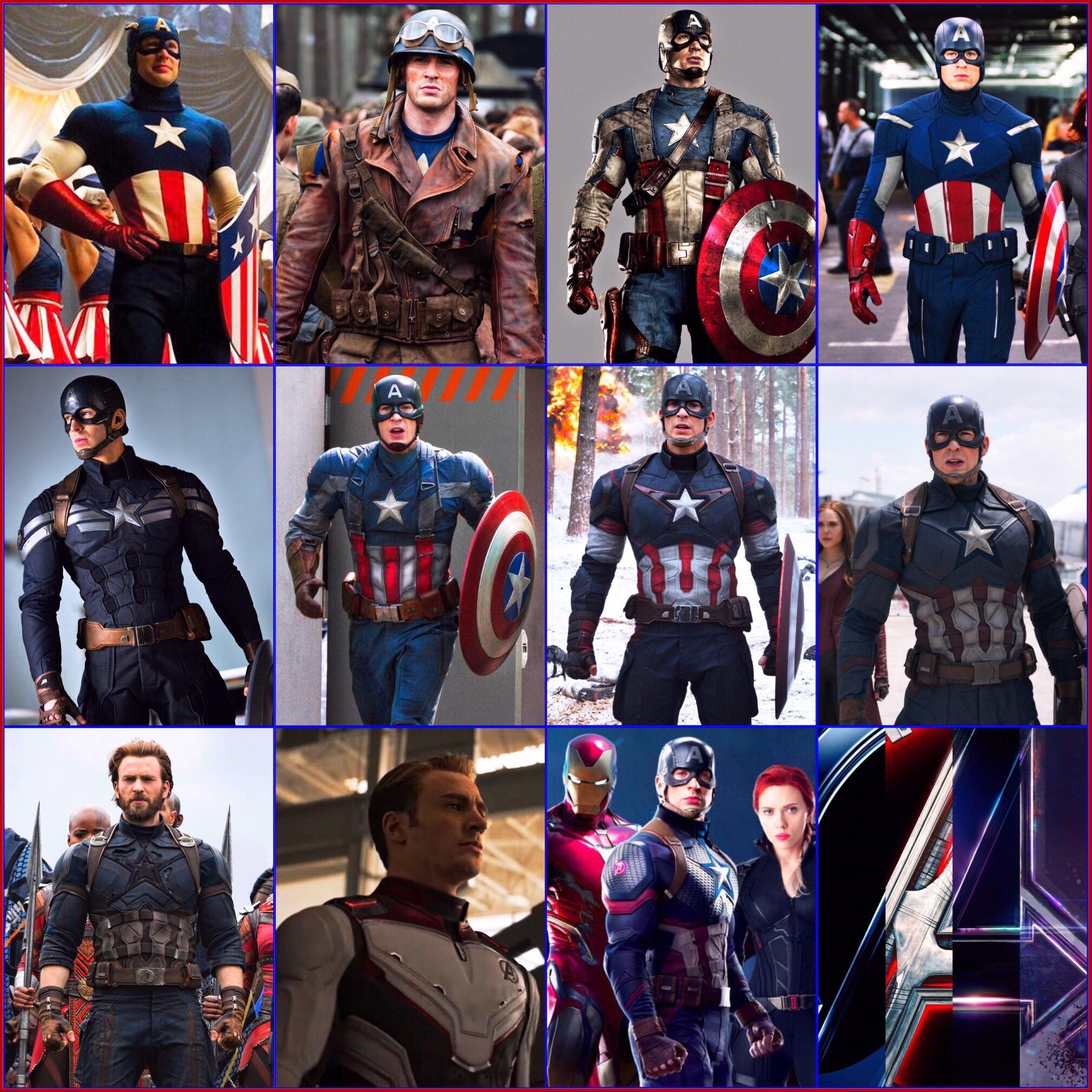 evolution of mcu captain america's outfit : marvelstudios