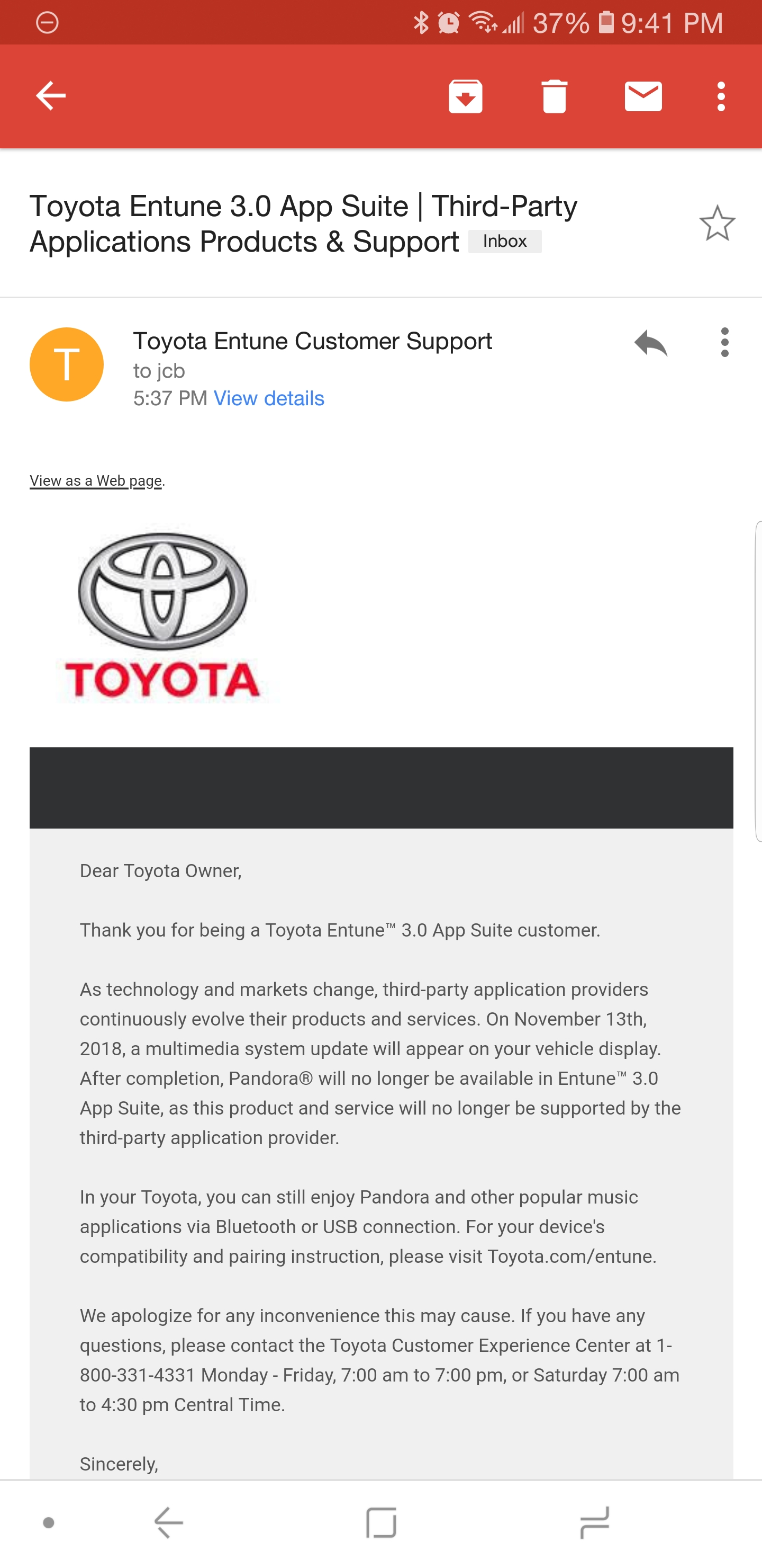 hight resolution of i emailed toyota to complain about pandora not working on entune got a response back saying they are dropping support for it as of november