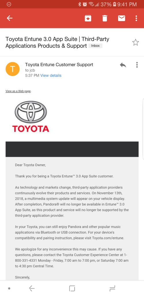 small resolution of i emailed toyota to complain about pandora not working on entune got a response back saying they are dropping support for it as of november