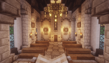The interior of a little chapel I made : Minecraft