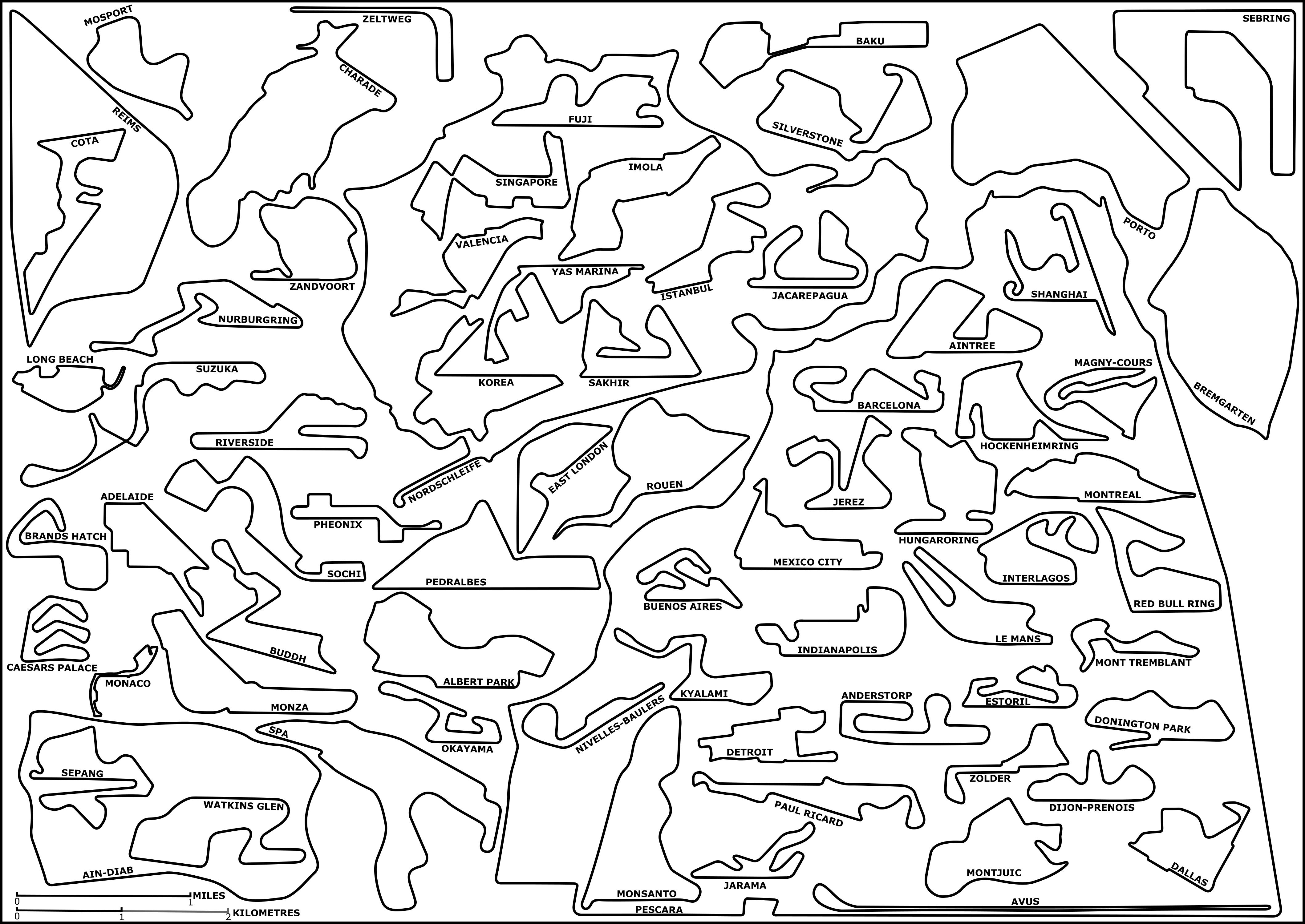 Every Formula 1 Grand Prix Circuit To Scale Oc Formula1
