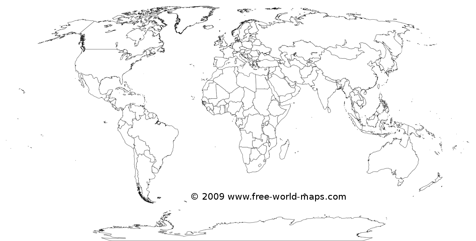 Most of the countries in the world, plus Antartica, to