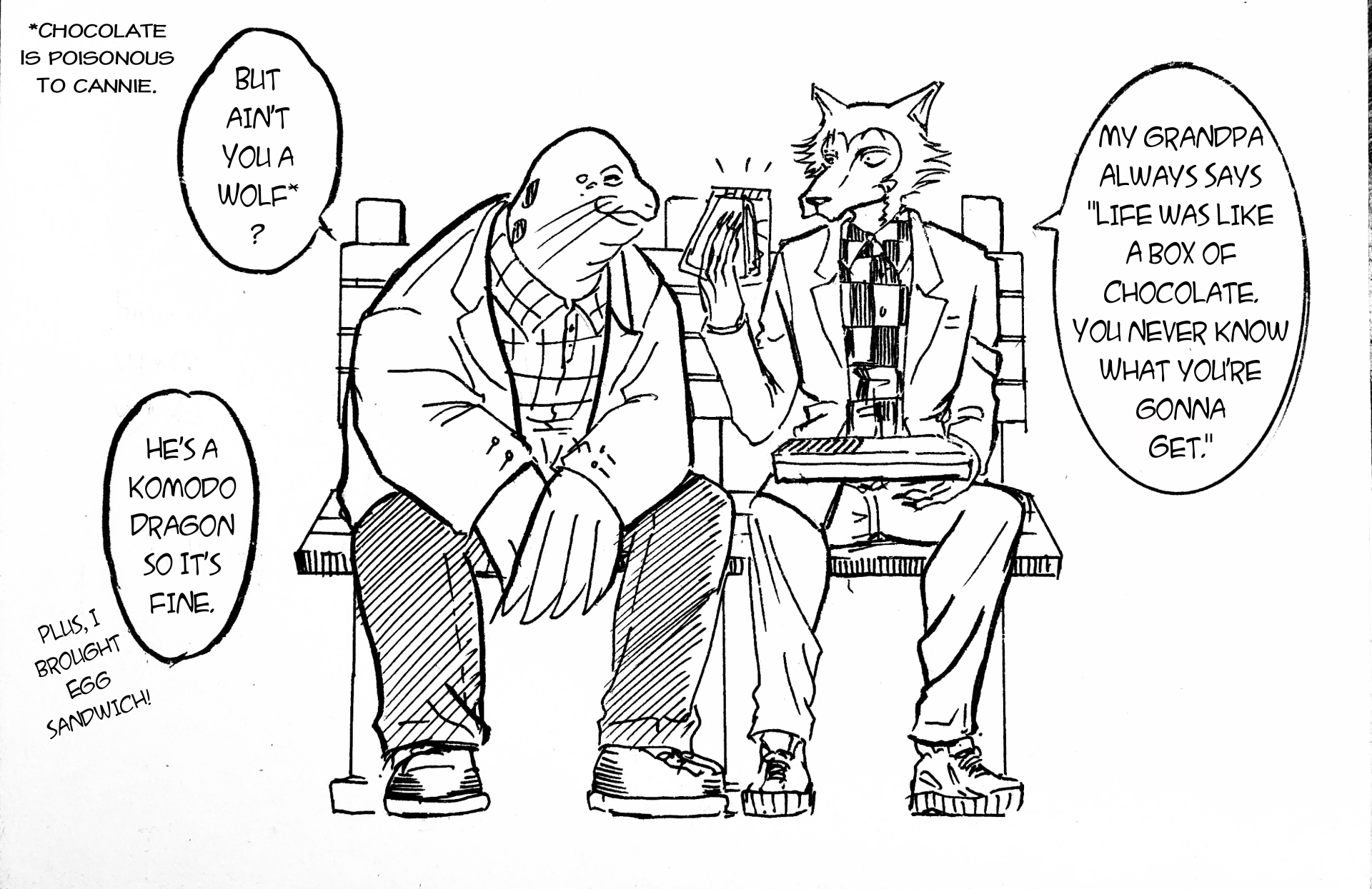 Some Beastars-Forrest Gump crossover no one asks for