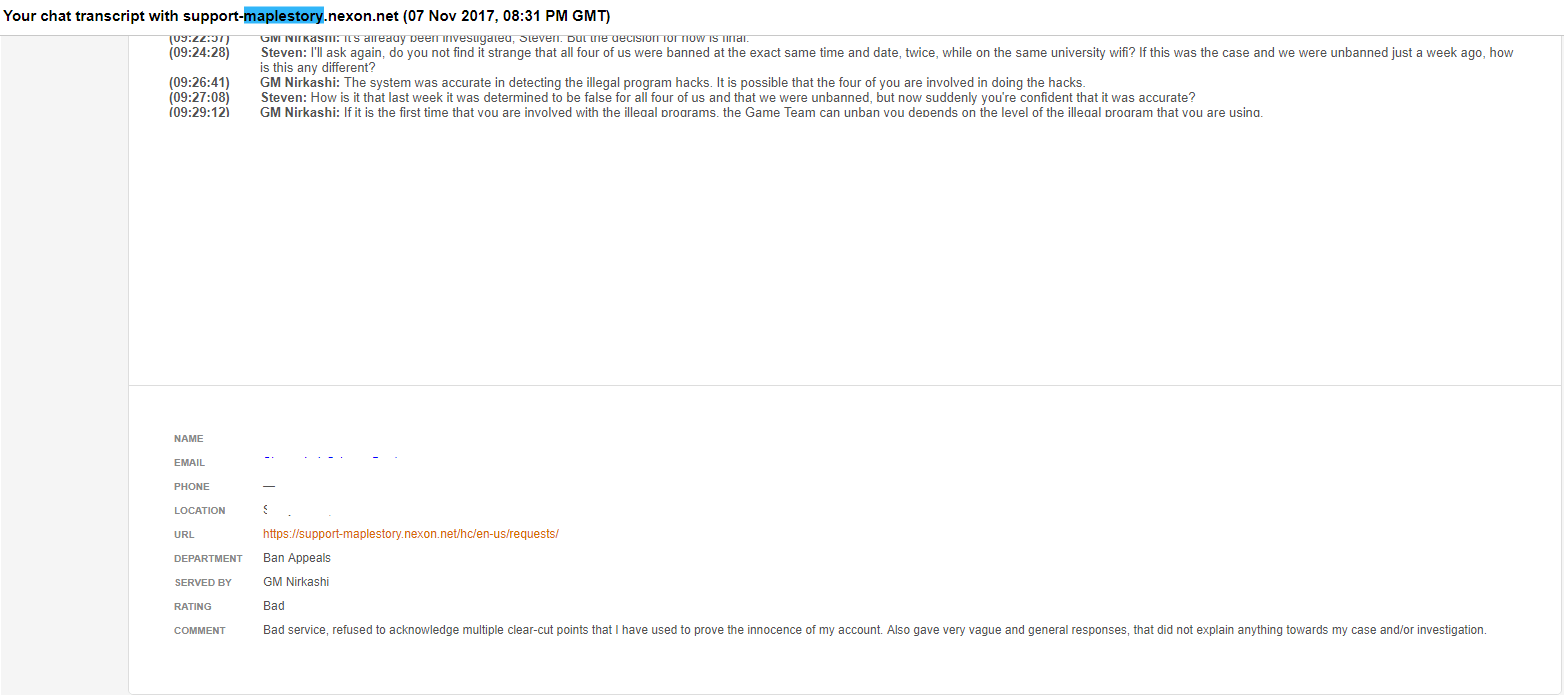 With all the recent stuff about Nexon's live chat/ticket