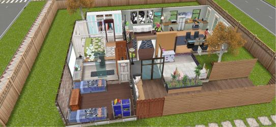 This is a one level house I made for a single mom with 3 kids : simsfreeplay