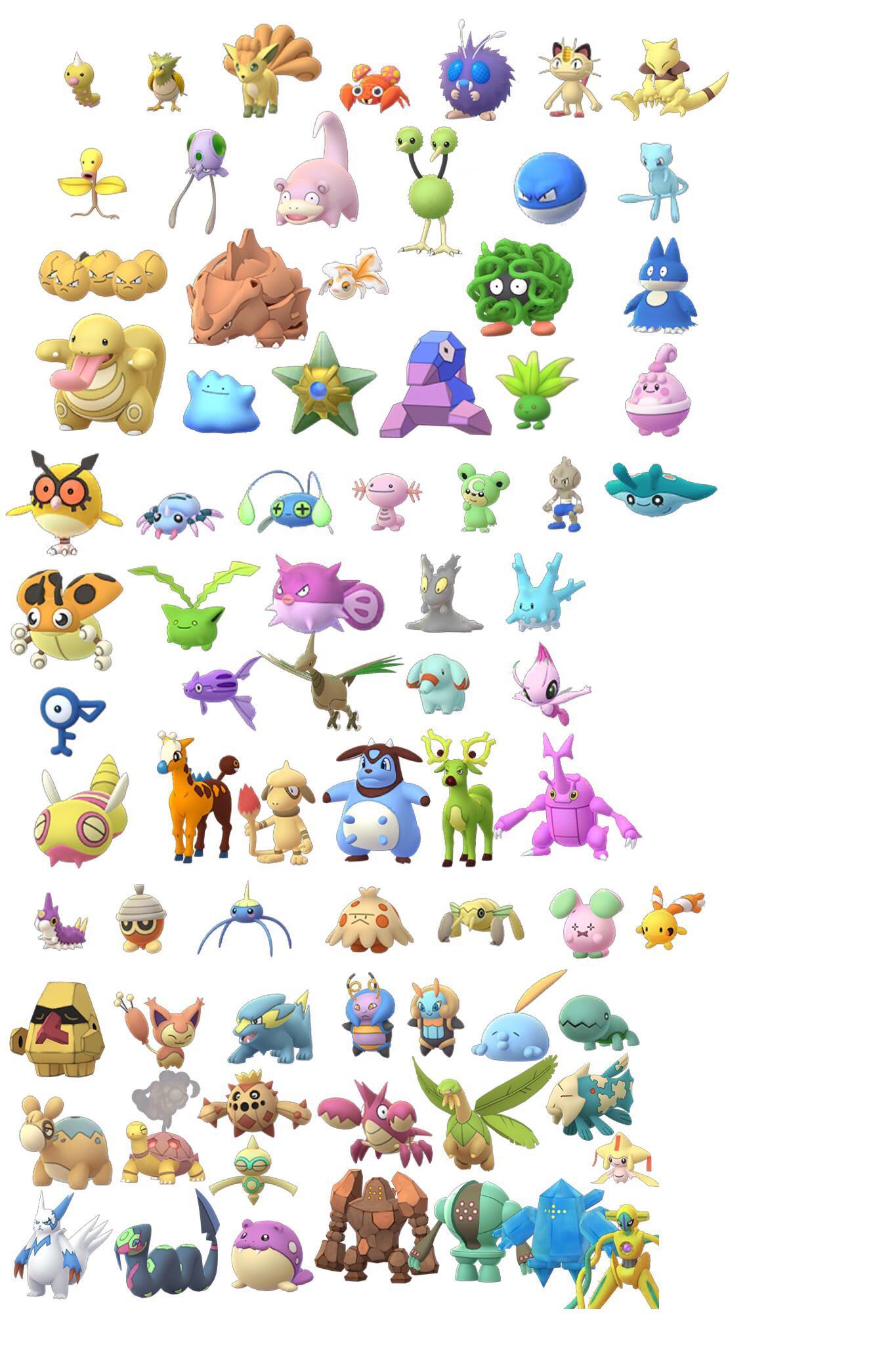 all unreleased shiny pokémon