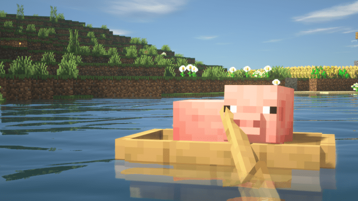 [1920×1080] Pig In A Boat