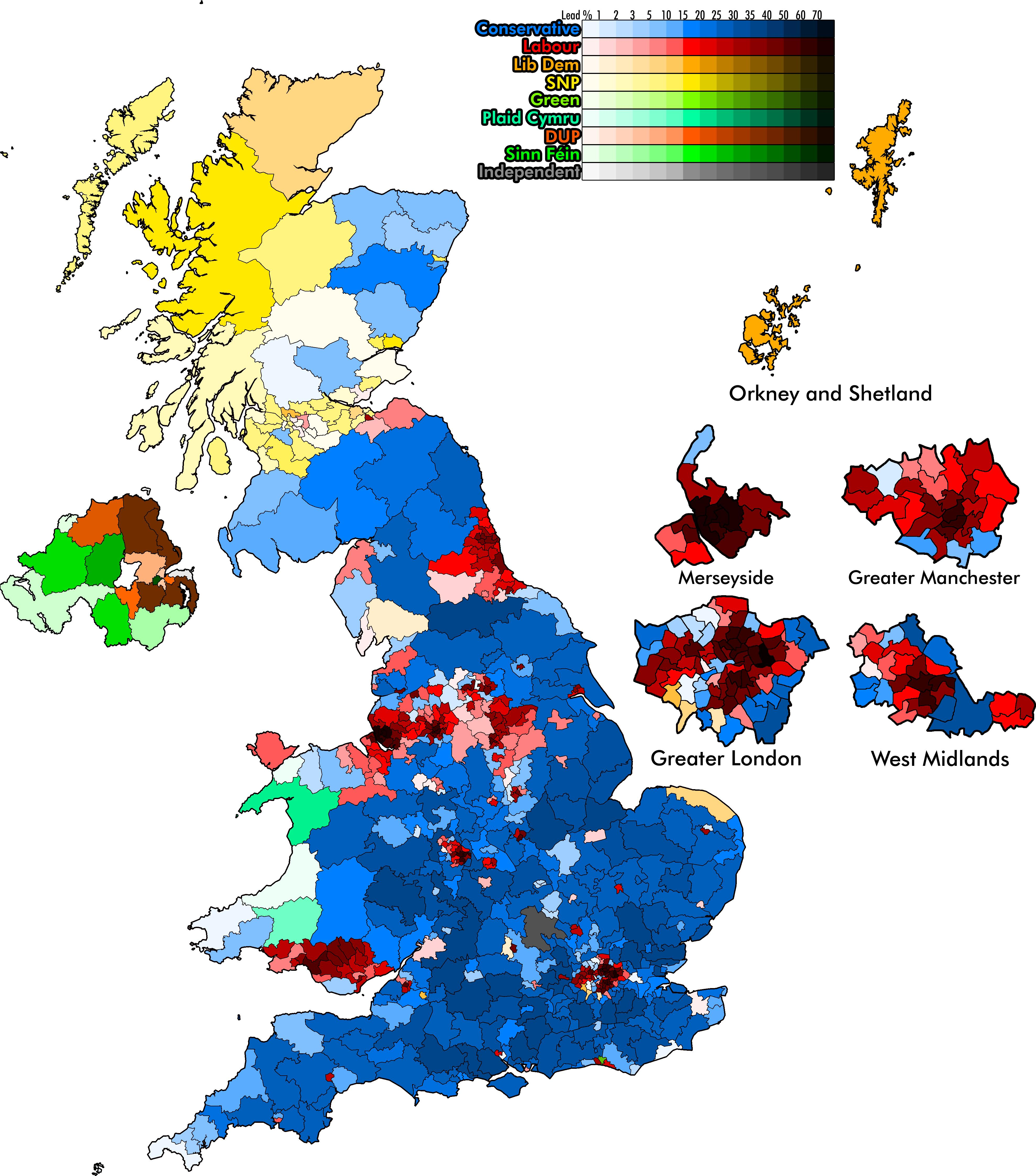 Uk Election Map With Constituencies Shaded By