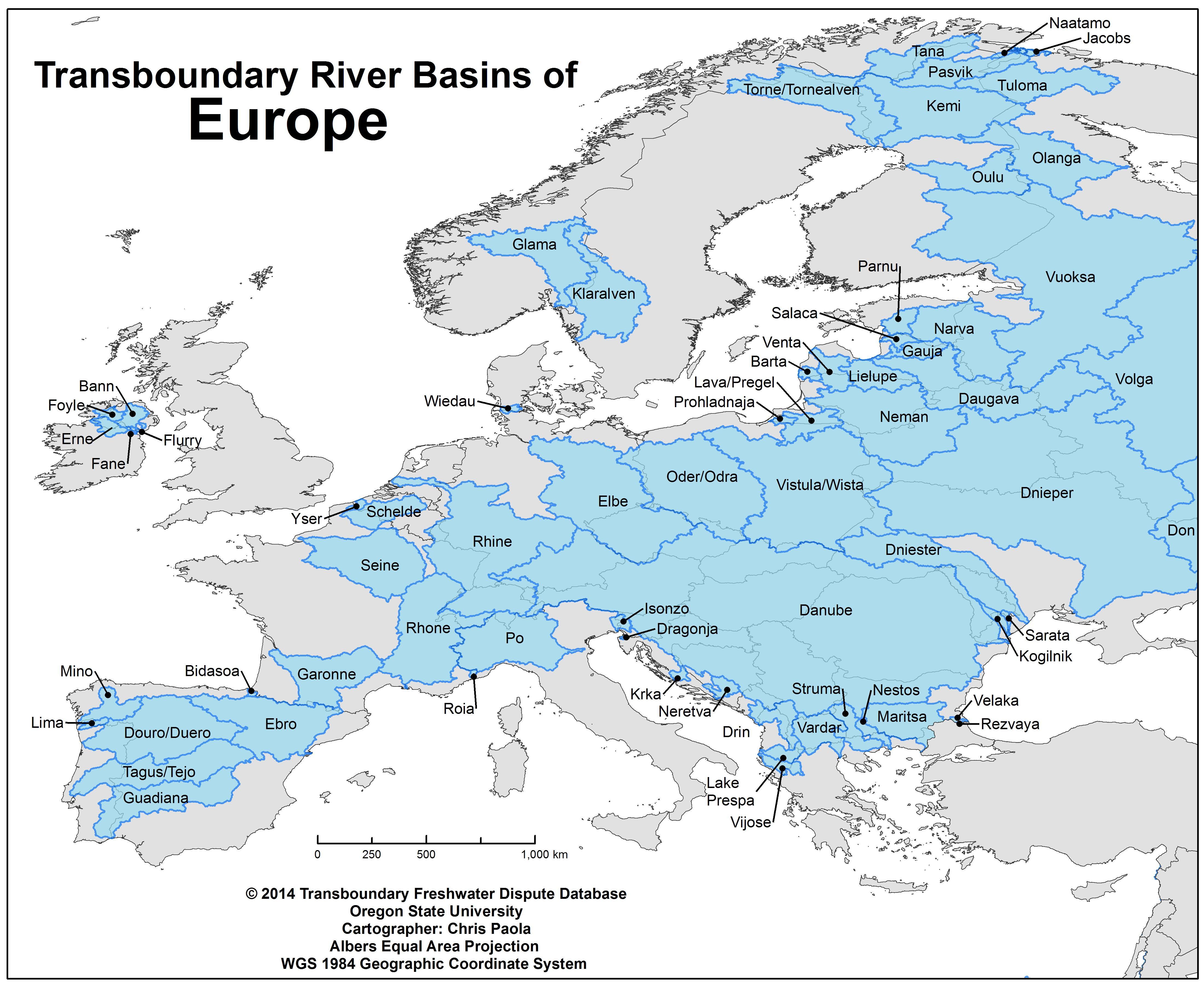 Transboundary River Basins Of Europe Europe