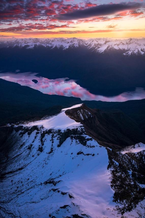 sunset reflection in Te Anau lake