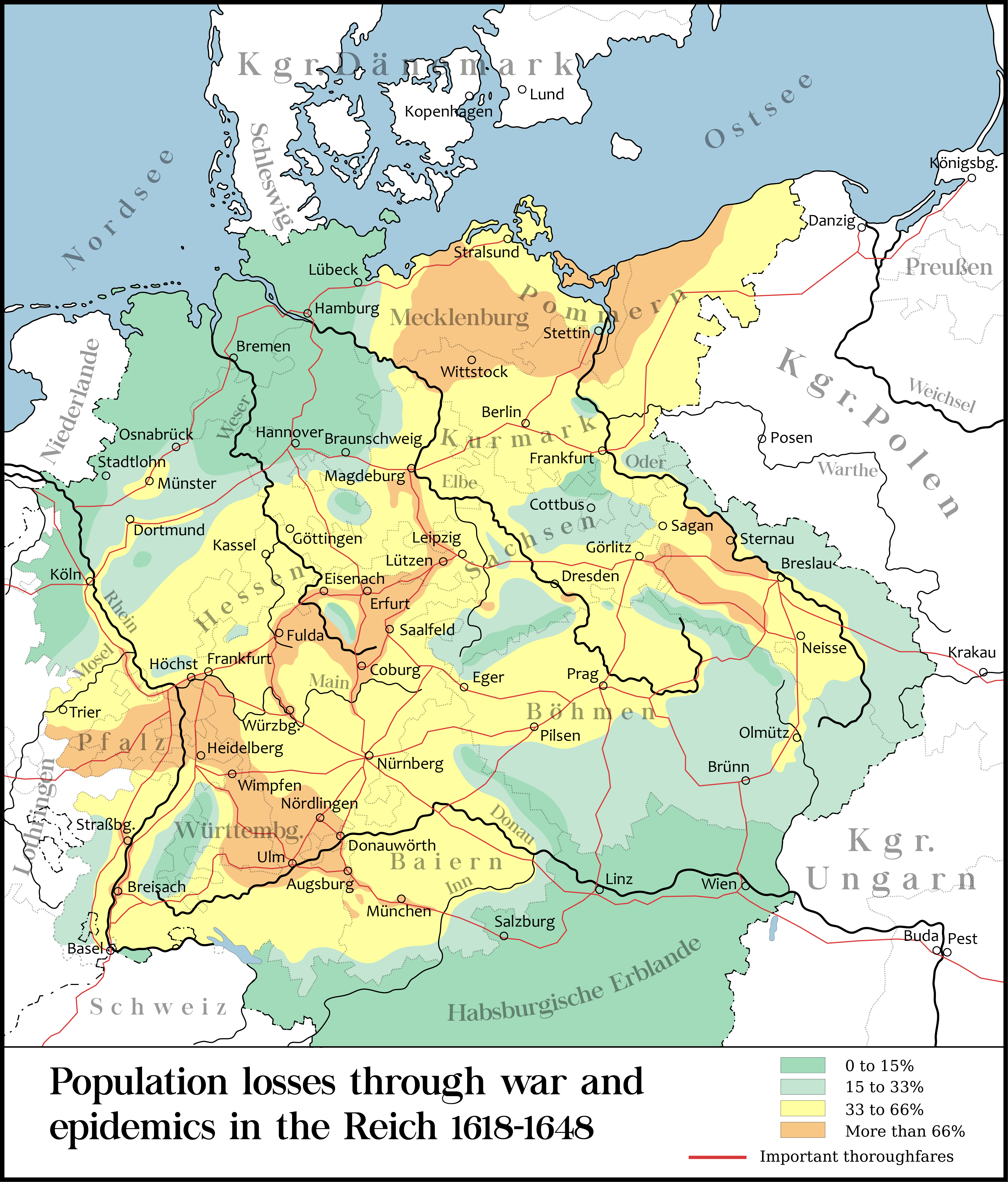 Population Loss During The Thirty Years War Fought