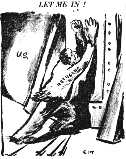 Cartoon about USA denial of refugees from Germany, timely
