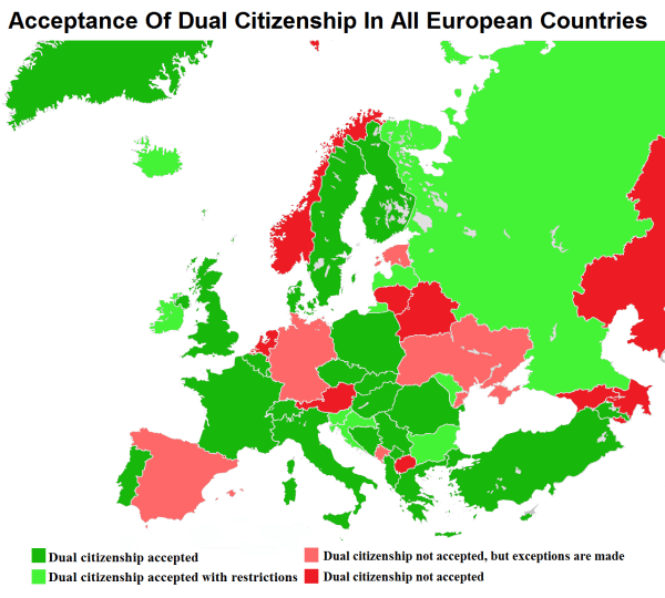 Acceptance Of Dual Citizenship In European Countries