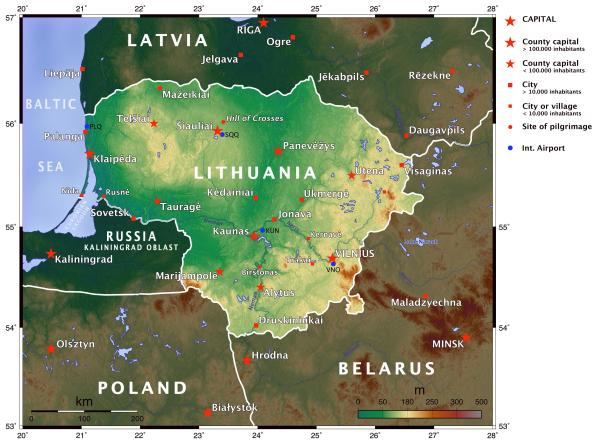 Elevation map of Lithuania 3830 x 2840 MapPorn