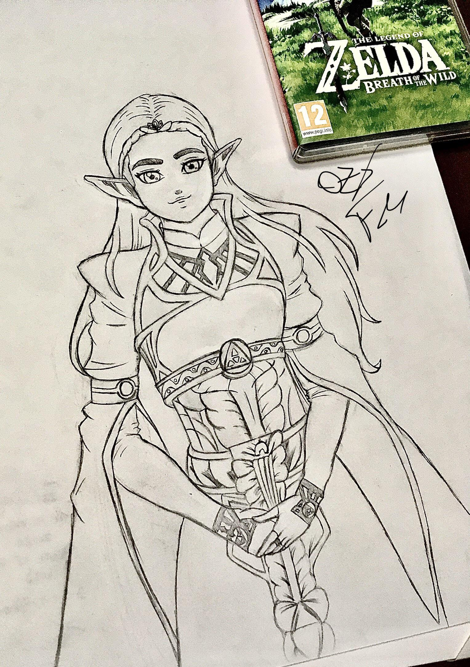 Princess Zelda Drawing : princess, zelda, drawing, BotW], First, Drawing, Princess, Zelda