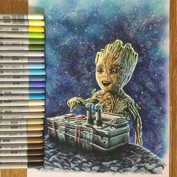 Baby Groot Drew In Copic Marker A3 Paper. Hope
