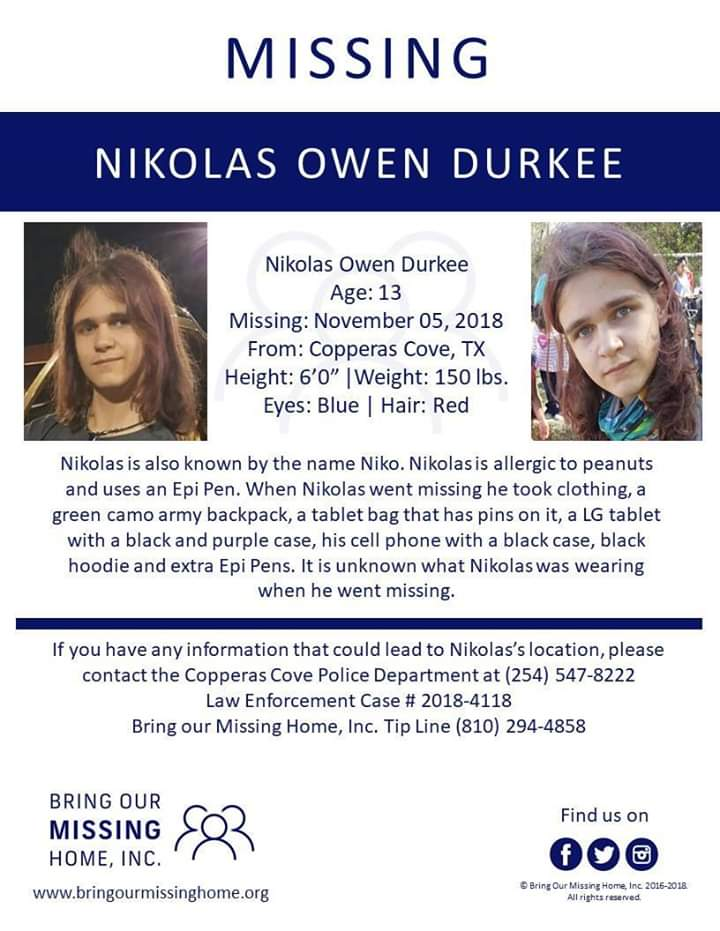 I dont know if this kind of post is allowed here. I'm just trying to boost the signal for this missing kid I know. I thought maybe the travelers ...