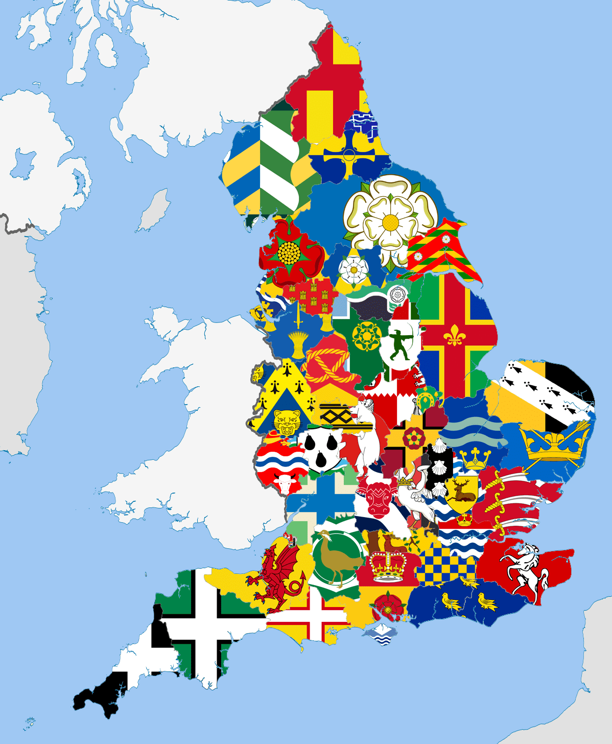 A Map Of The English Counties And Their Flags Vexillology