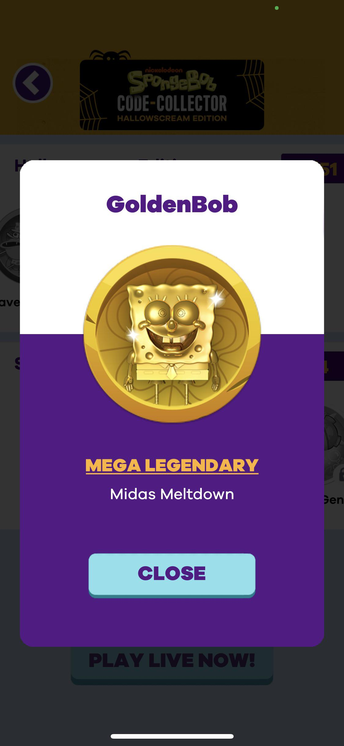 Nickelodeon Code : nickelodeon, Spongebob, Code-Collector, Hallowscream, Edition, Goldenbob