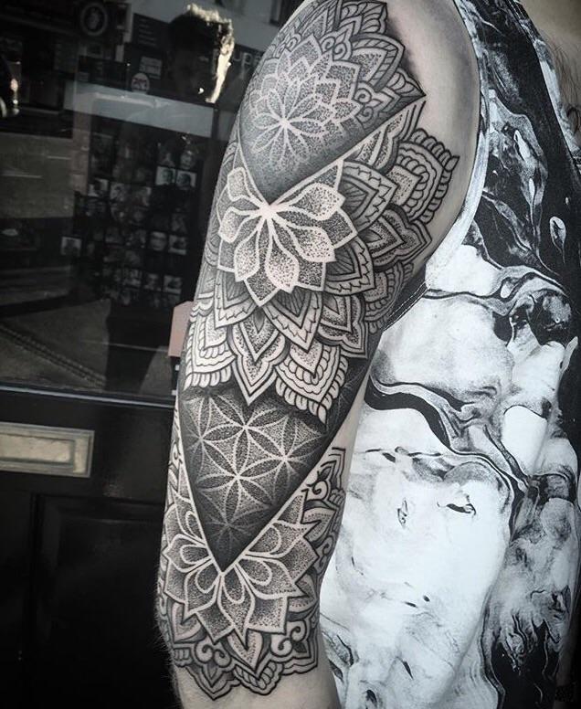 Geometric Half Sleeve Tattoo : geometric, sleeve, tattoo, Geometric, Sleeve, Chris, Bintt, Silver, Needles, South, Tattoos