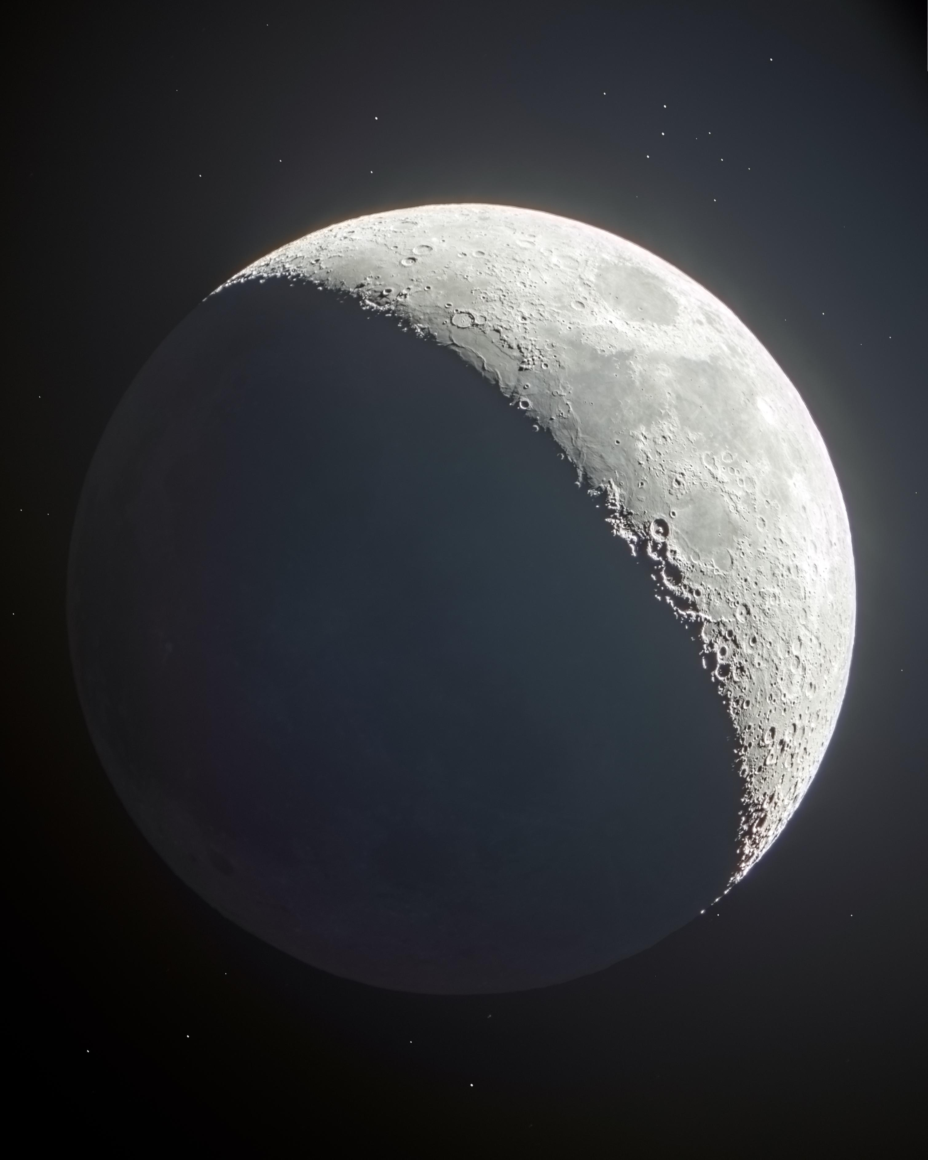 waxing crescent moon with