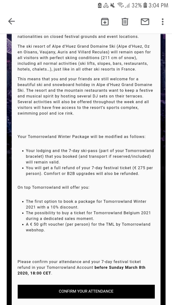 Tomorrowland Winter 2020 refund email