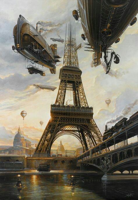 steampunk landscape of paris