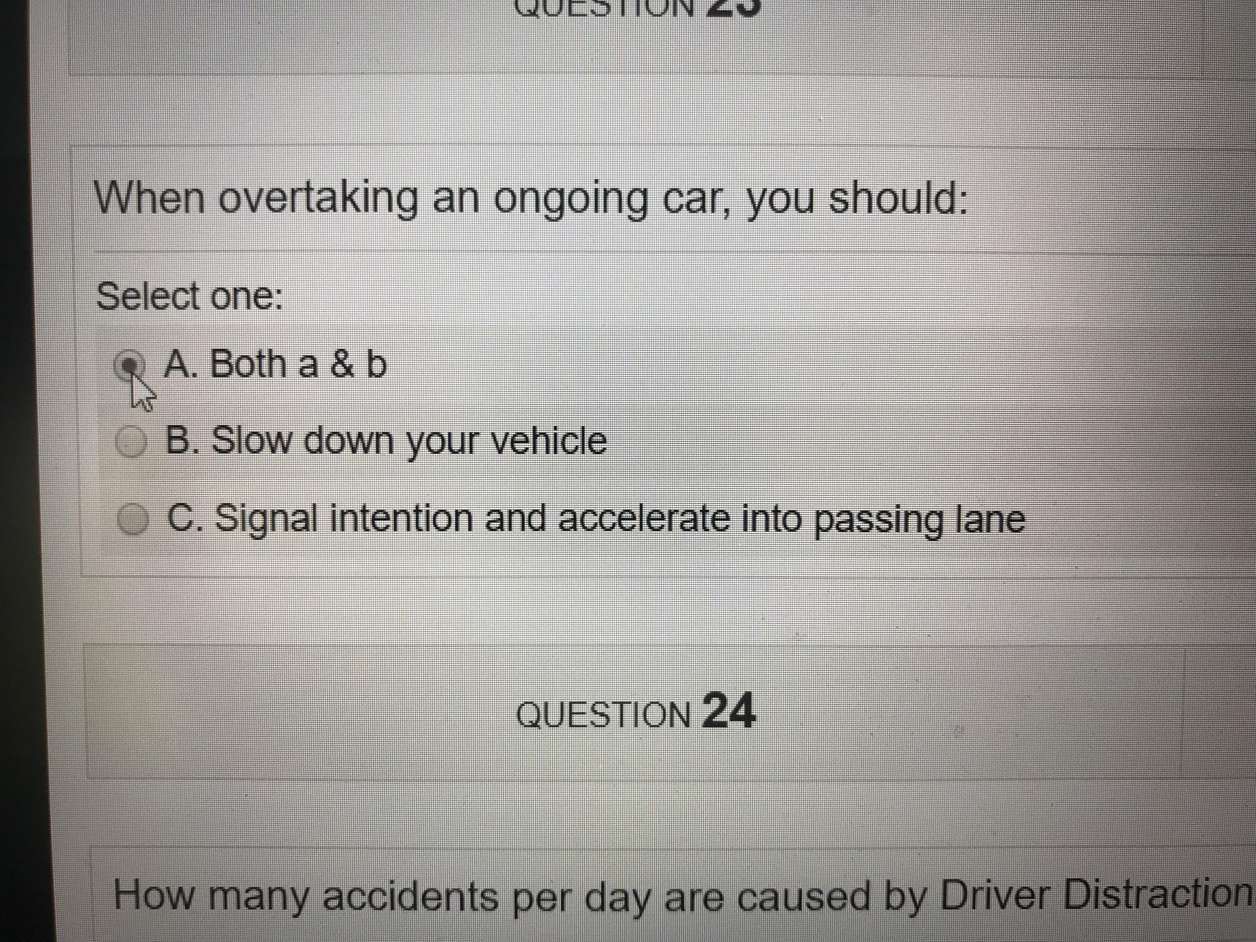 This Driver S Ed Test I Know The Answer Isn T A