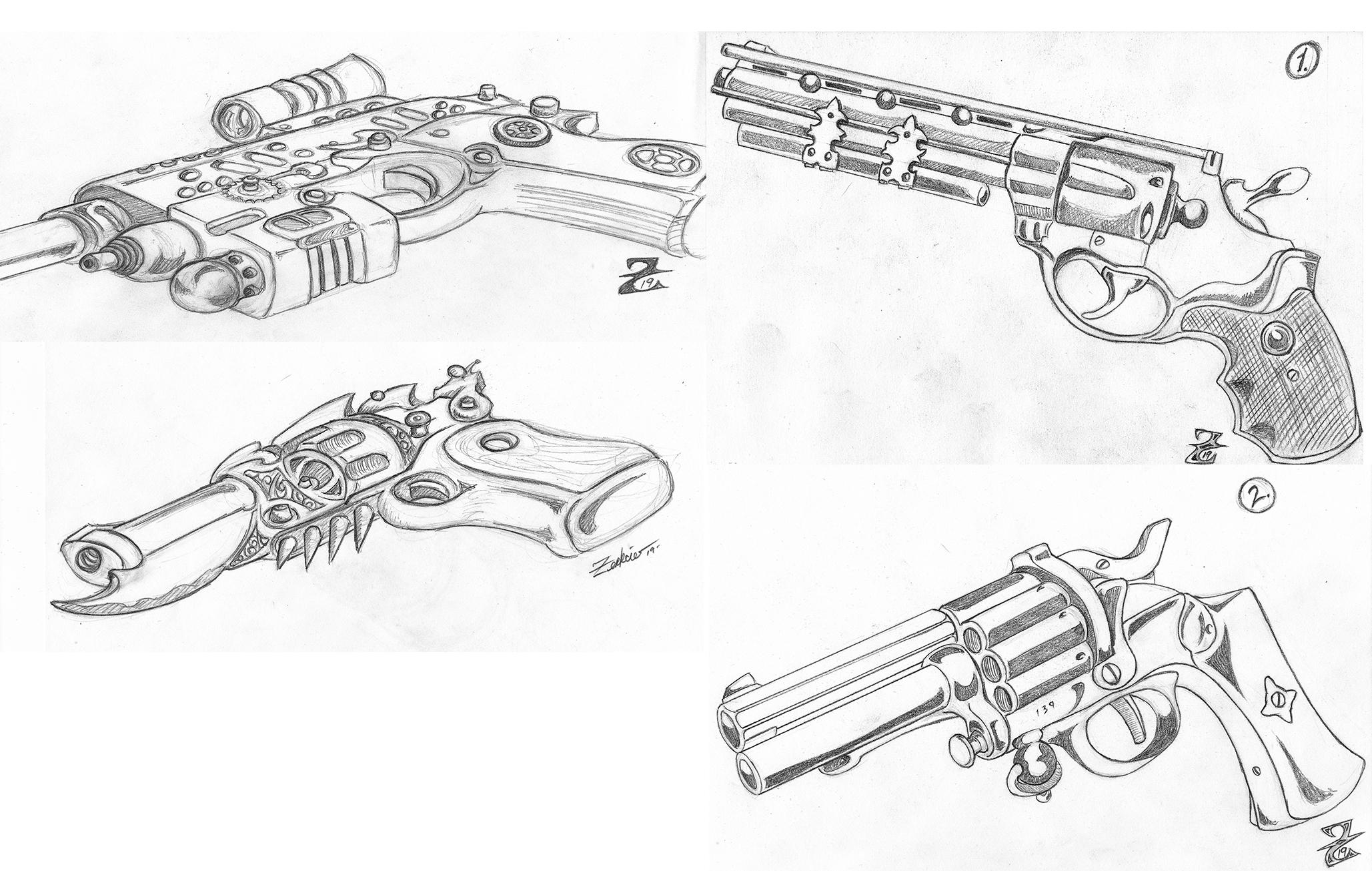 Steampunk Pistol Drawings I Did Today Making A Dual Wield