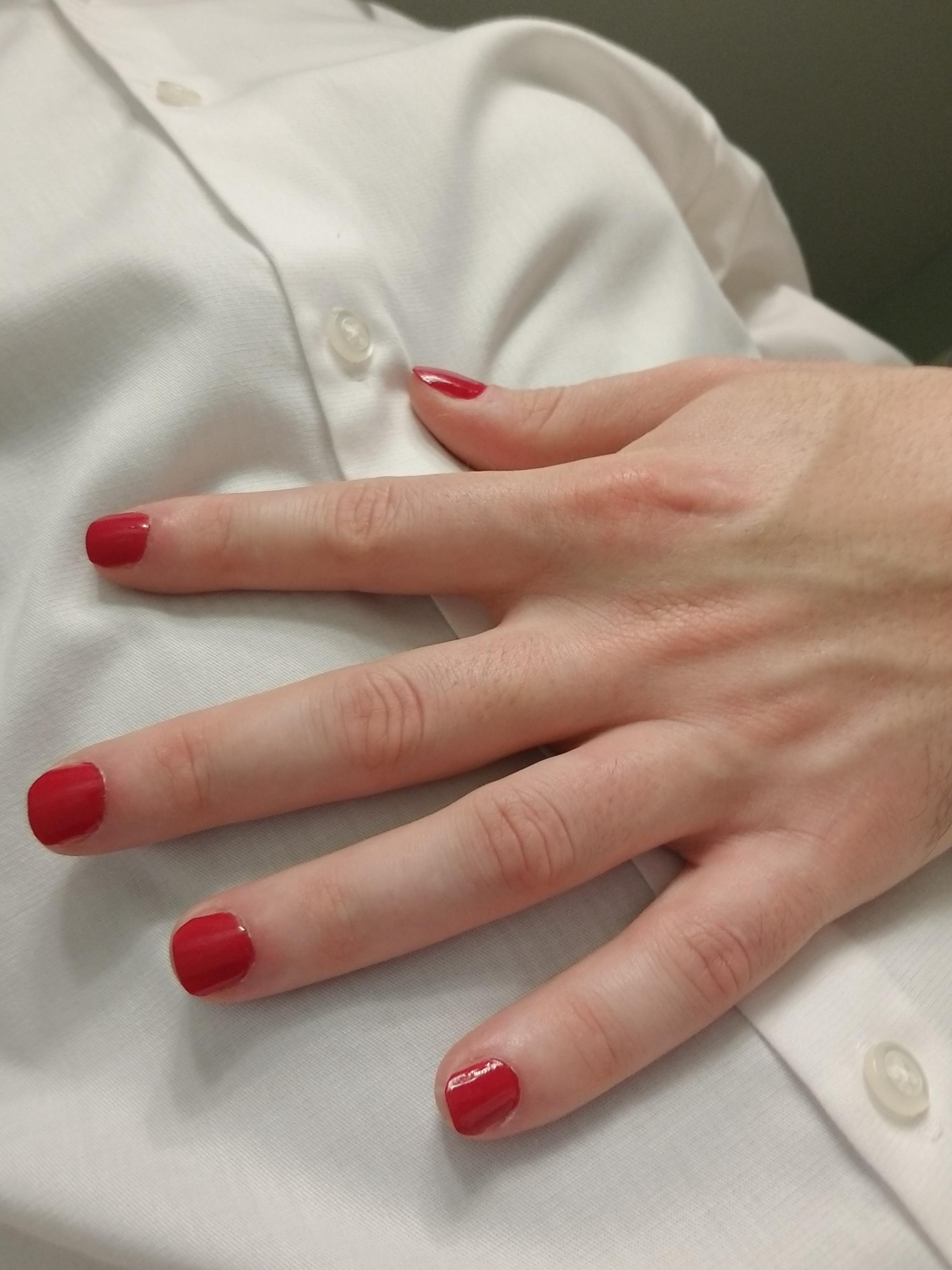 Blood Red Nailpolish : blood, nailpolish, Blood, Nails,, White, Shirt., Major, Contrast., Malepolish