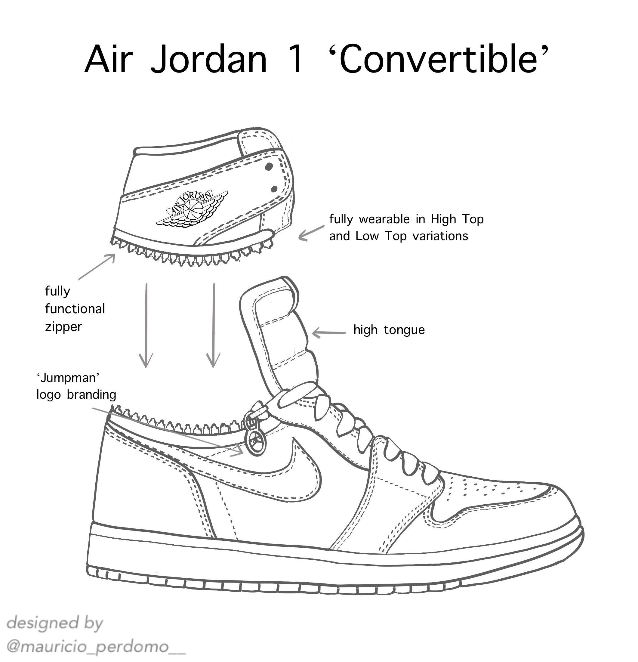 "Air Jordan 1 ""Convertible"" Concept by me. : Sneakers"