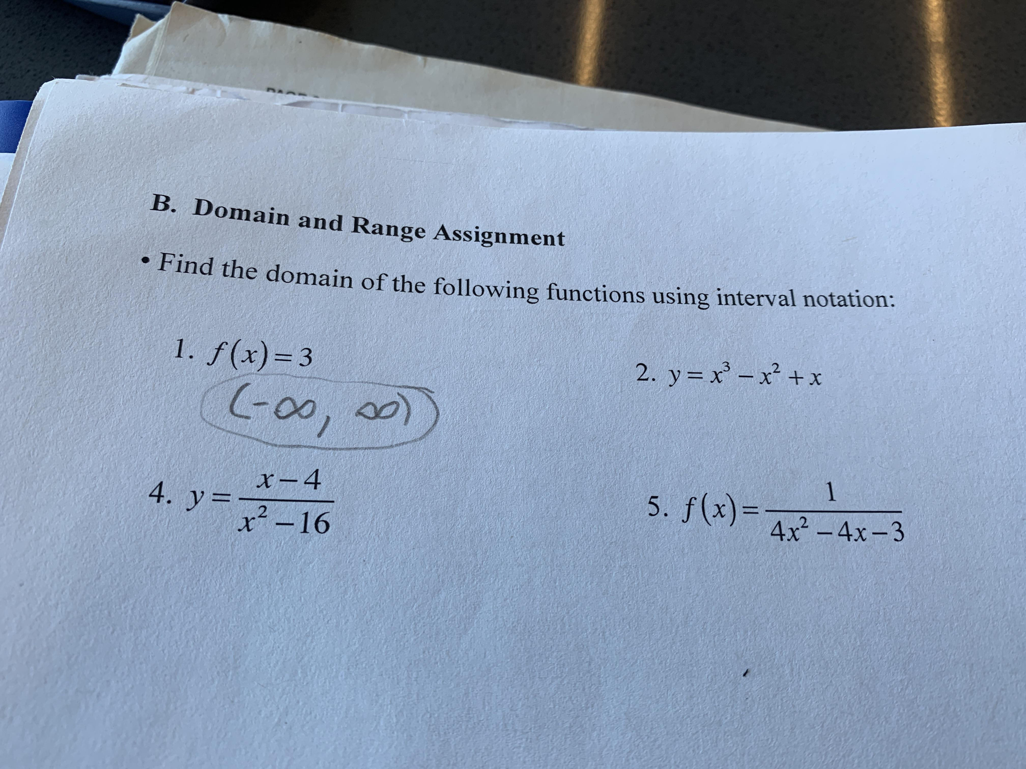 Algebra 2 Finding Domain From Interval Notation 2