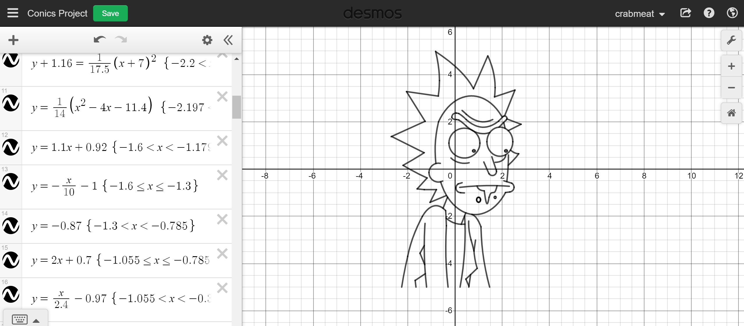 A while back I made Rick Sanchez in Desmos (graphing