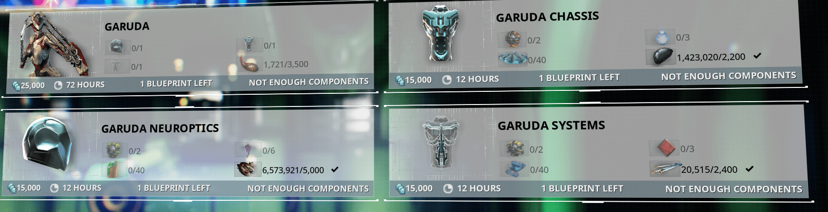 Crafting Requirement Bit Too Extreme Garuda Warframe Forums