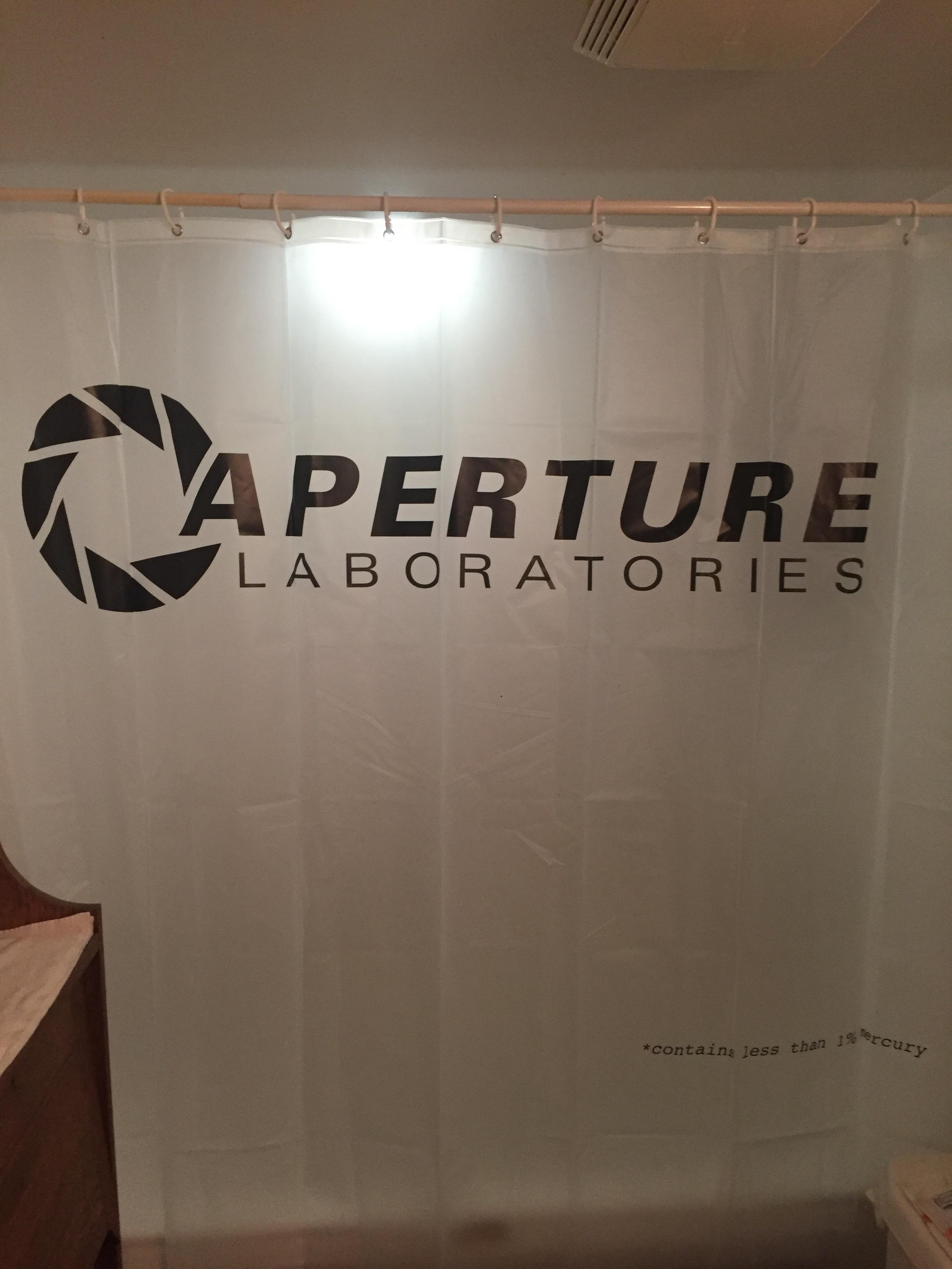 aperture science shower curtain