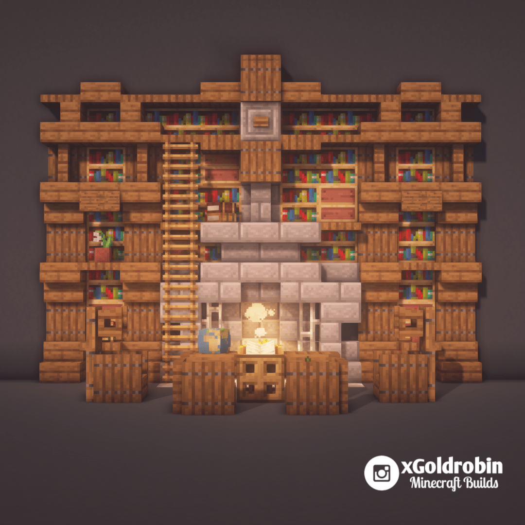 Here Is A Bookshelf With Fireplace Design Minecraft