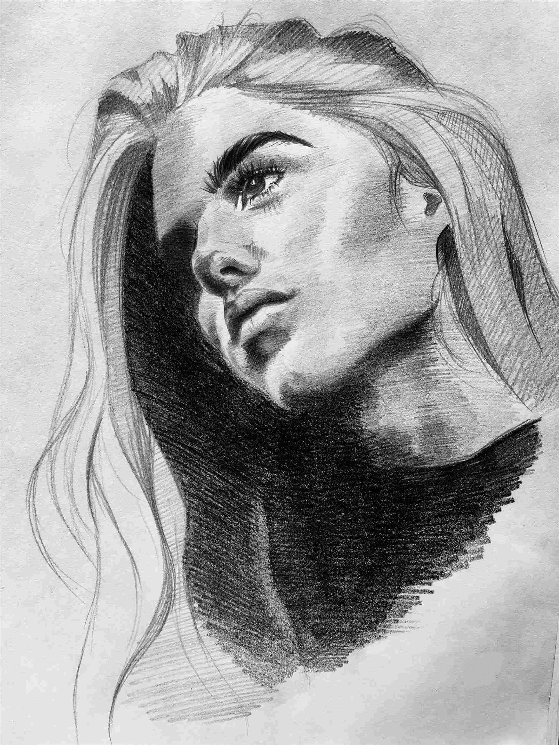 Sketch Of A Woman Face at PaintingValley.com | Explore