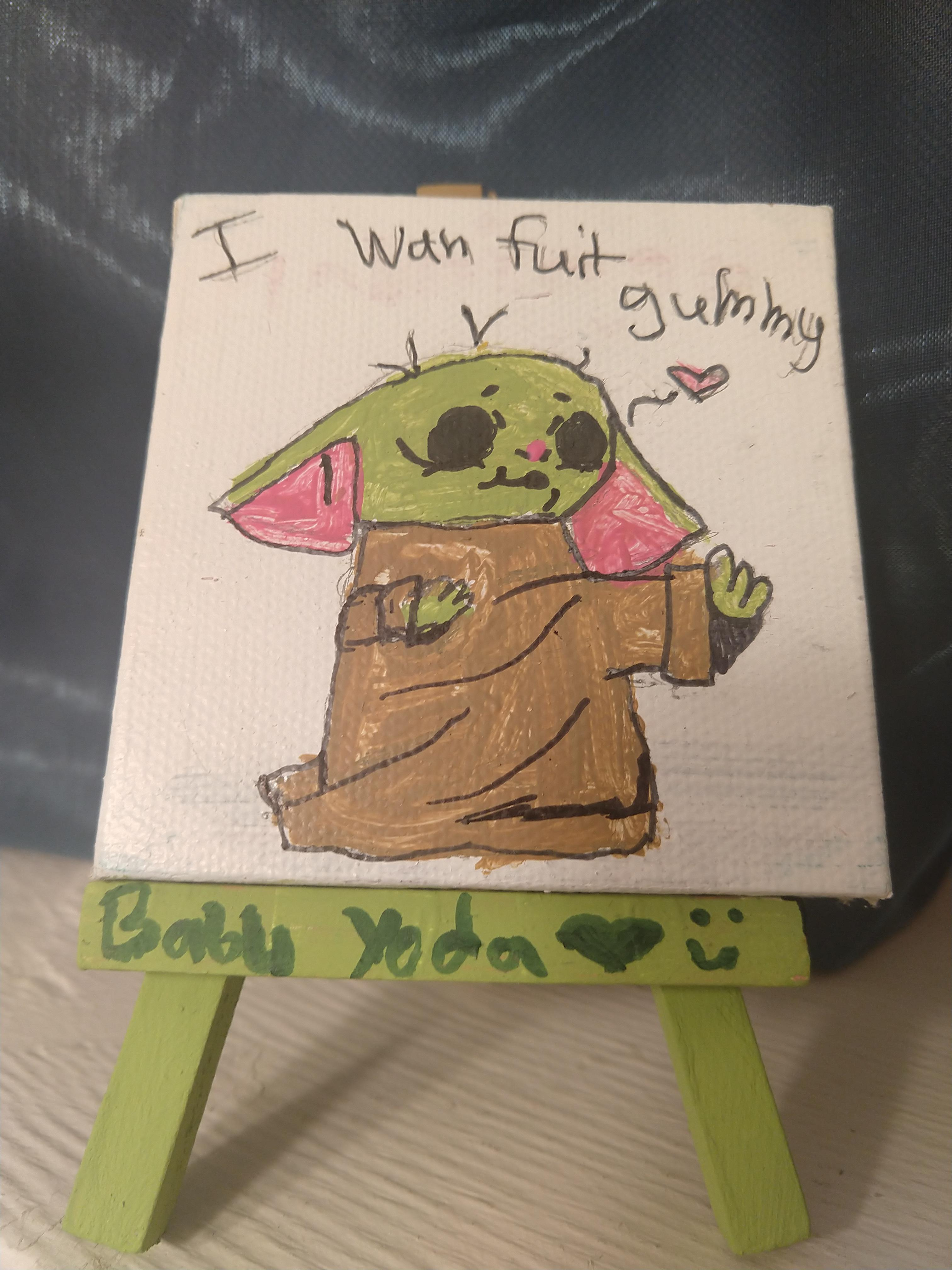 Baby Yoda I Want Fuit Gummy : gummy, Painted, Today, Canvas., BabyYoda