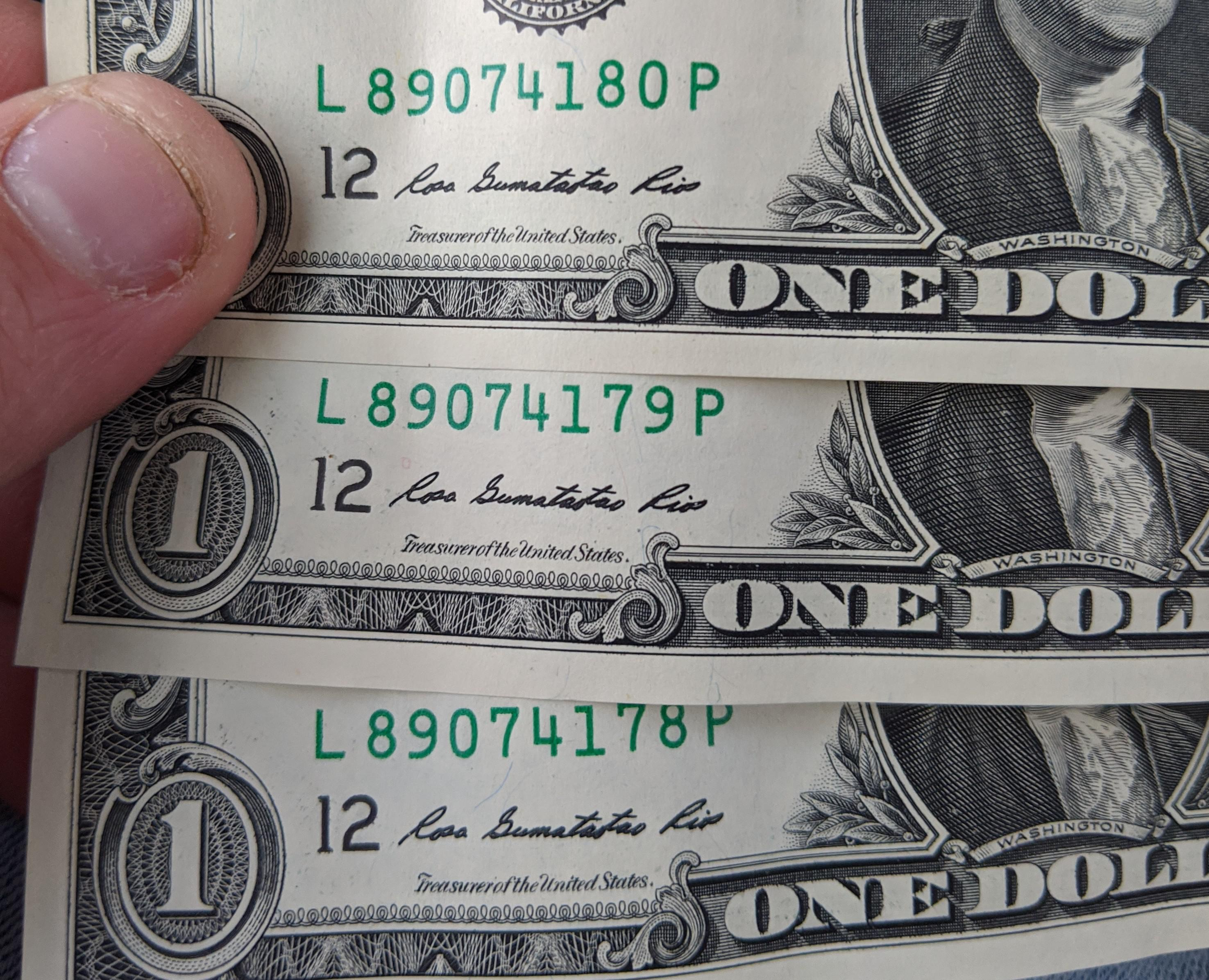 I Have Three One Dollar Bills With Serial Numbers In