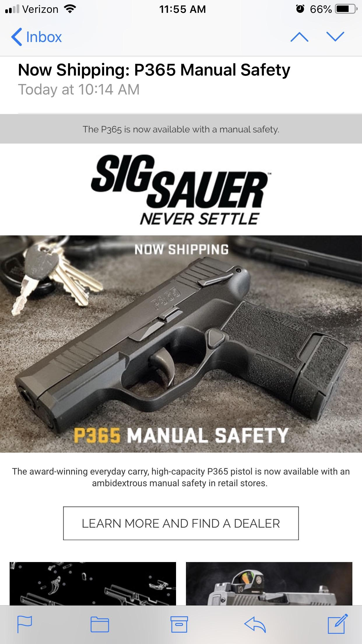 hight resolution of p365 with the manual safety is shipping i ve been holding out for this one and can t wait to pick it up