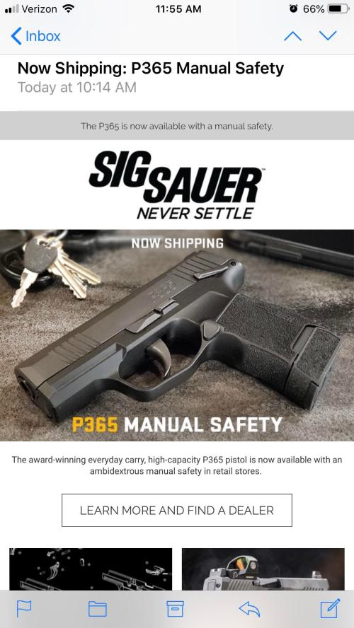 small resolution of p365 with the manual safety is shipping i ve been holding out for this one and can t wait to pick it up