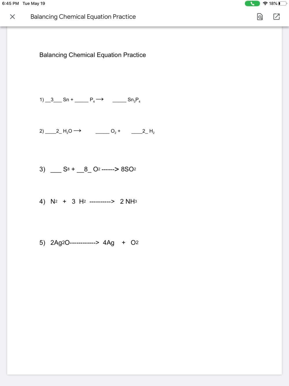 medium resolution of Grade 8We were given an assignment on balancing chemical equations through  google classroom. The actual worksheet is on a google doc. Could I get a  link to a video explaining how to