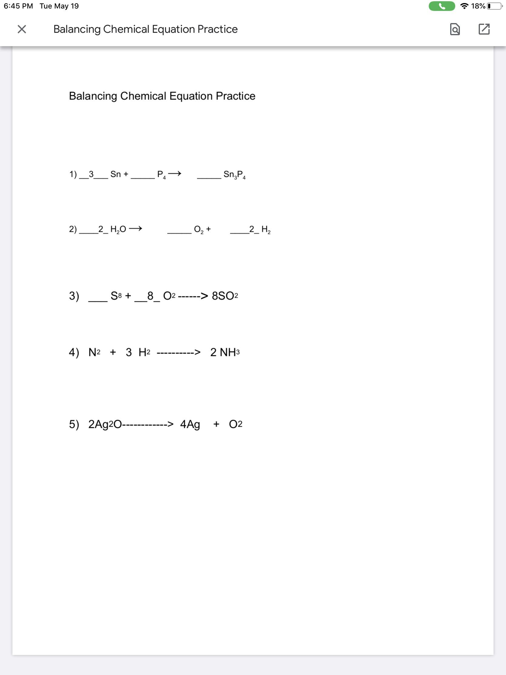 hight resolution of Grade 8We were given an assignment on balancing chemical equations through  google classroom. The actual worksheet is on a google doc. Could I get a  link to a video explaining how to