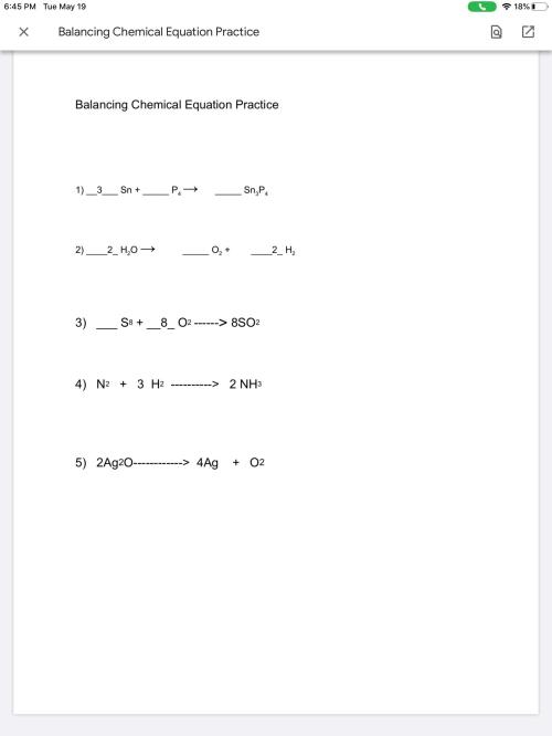 small resolution of Grade 8We were given an assignment on balancing chemical equations through  google classroom. The actual worksheet is on a google doc. Could I get a  link to a video explaining how to