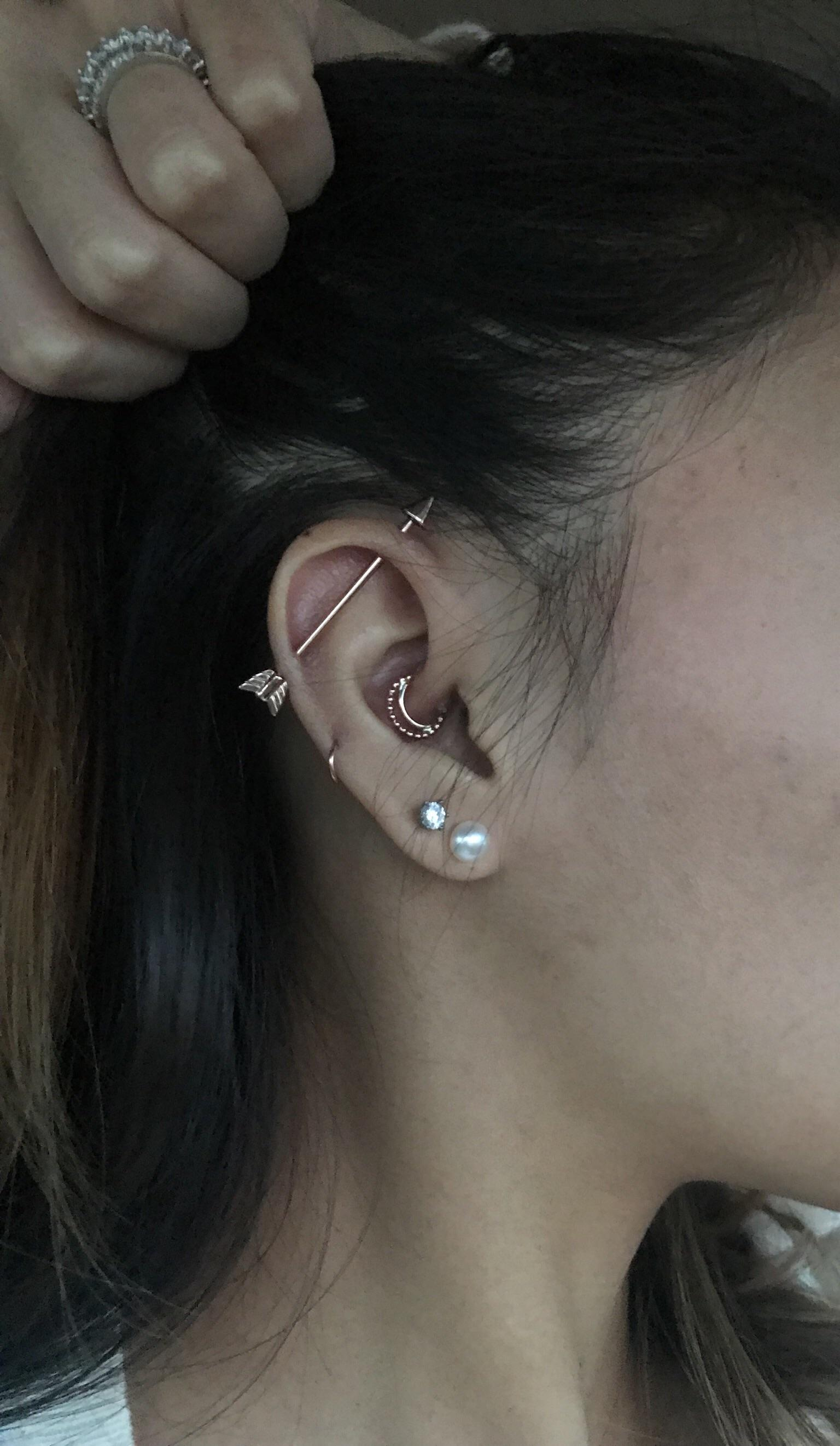 Industrial Piercing Jewelry Gold : industrial, piercing, jewelry, Arrow, Industrial, Beaded, Daith!, Piercing